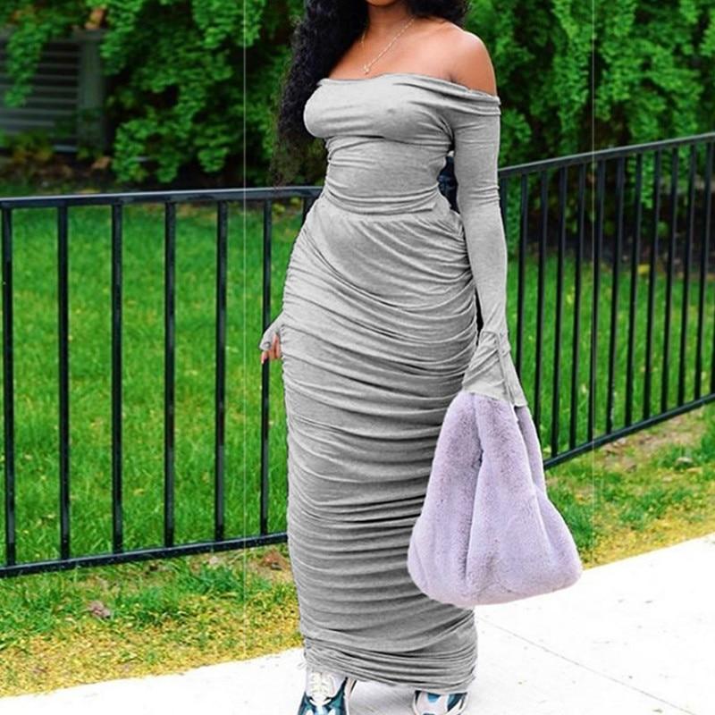 Модное женское платье с открытыми плечами на раннюю осень, облегающее Платье макси с длинными рукавами, драпированные Повседневные Вечерни...