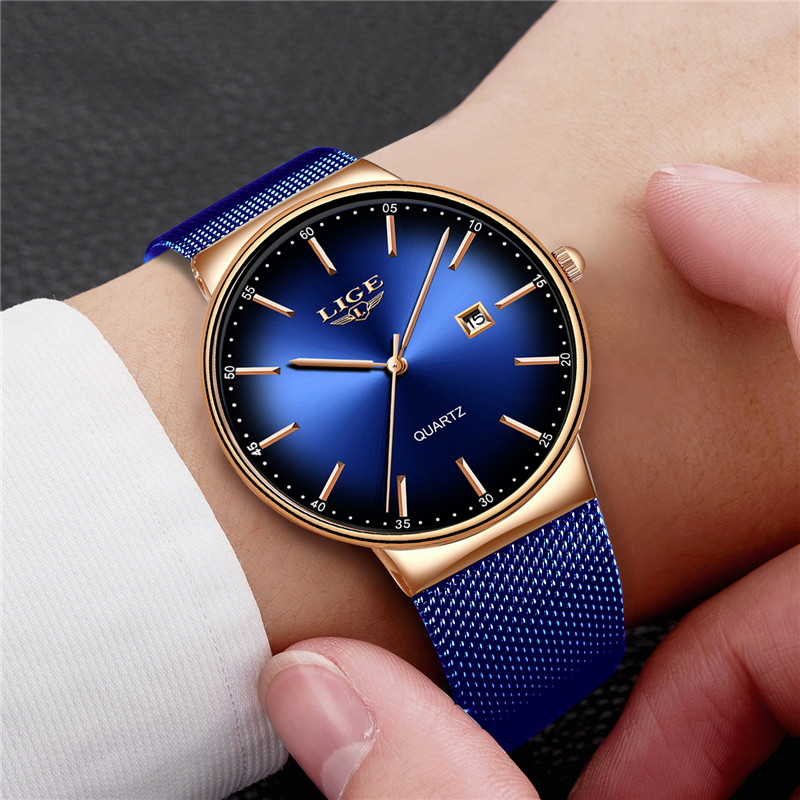 2019 LIGE New Mens Watches Top Brand Luxury Blue Camouflage Watch Sports Casual Stainless Steel Waterproof Dress Watch Men Clock in Quartz Watches from Watches