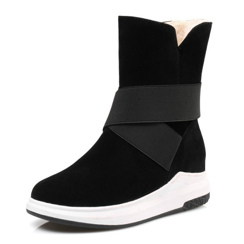 Plus Size Women Snow Boots Fashion Warm Winter Boots Plush Mid calf Boots Ladies Wedges Comfortable Shoes Cotton Snow Boots