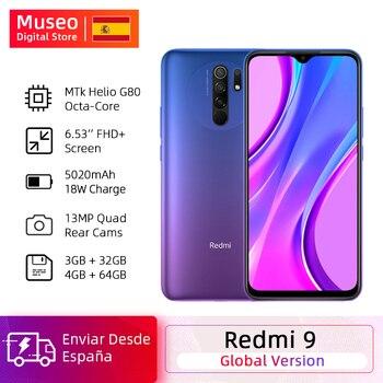 Купить Глобальная версия мобильных телефонов Redmi 9 Helio G80 Восьмиядерный 3 ГБ 32 ГБ 6,53 дюймFHD + 13MP AI Quad Cams смартфон 5020 мАч