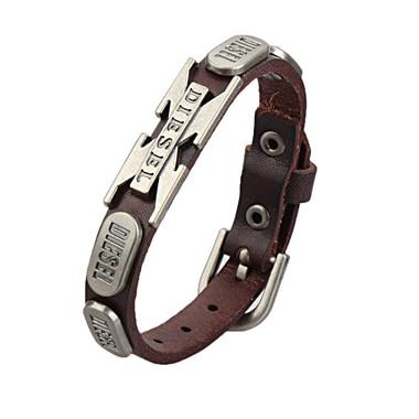 Drop Shipping Hip Hop Cowhide Bracelet Men Vintage Rock Words S/X Bracelets Punk Leather Bracelet Men Women Jewelry