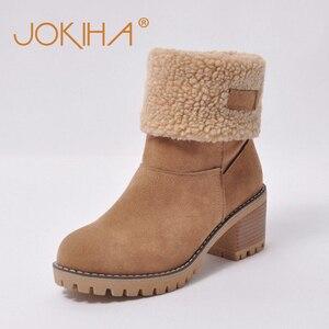 Image 2 - Cheap Sale 2019 Winter Women Fashion Ankle Boots Flock High Heel Short Booties For Ladies Big Size 43 Woman Botas Fur Warm Shoes