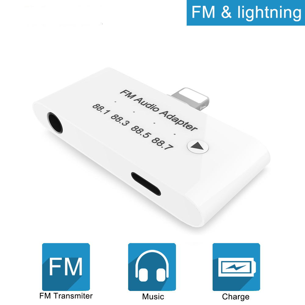 3 in 1 8 pin For <font><b>Lightning</b></font> <font><b>to</b></font> FM Audio <font><b>Adapter</b></font> with <font><b>3.5</b></font> <font><b>mm</b></font> <font><b>Headphone</b></font> Aux <font><b>Jack</b></font> <font><b>Adapter</b></font> for iPhone X XR 8P 8 7P 7 ipad ipod Series image