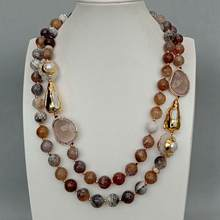 Y·YING 2 Strands 12mm Faceted Round Brown Fire Agates Crystal Pearl Quartz Druzy Choker Necklace 21