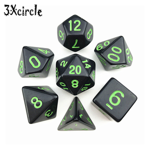 High Quality Black with Blue Ink Color 7pc/lot Opaque Dice Set D4,D6,D8,D10,D10%,D12,D20 Polyhedral Dices Dnd Rpg Board Game