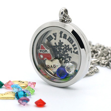 15% OFF!! 20/25/30MM Glass Lockets With Transparent Crystal Personalized Floating Pendants For Mothers Day | Bridesmaids Gift