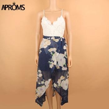 Aproms Women Summer Dresses Sexy V-Neck White Lace Patchwork Floral Party Dress  Sundresses Long Chiffon Beach Dress 2020 4