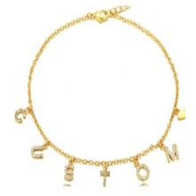 AurolaCo Custom Name Anklet Personality Cuban Anklet Stainless Steel Custom Zircon Letters  Anklet  for Women Jewelry Gift