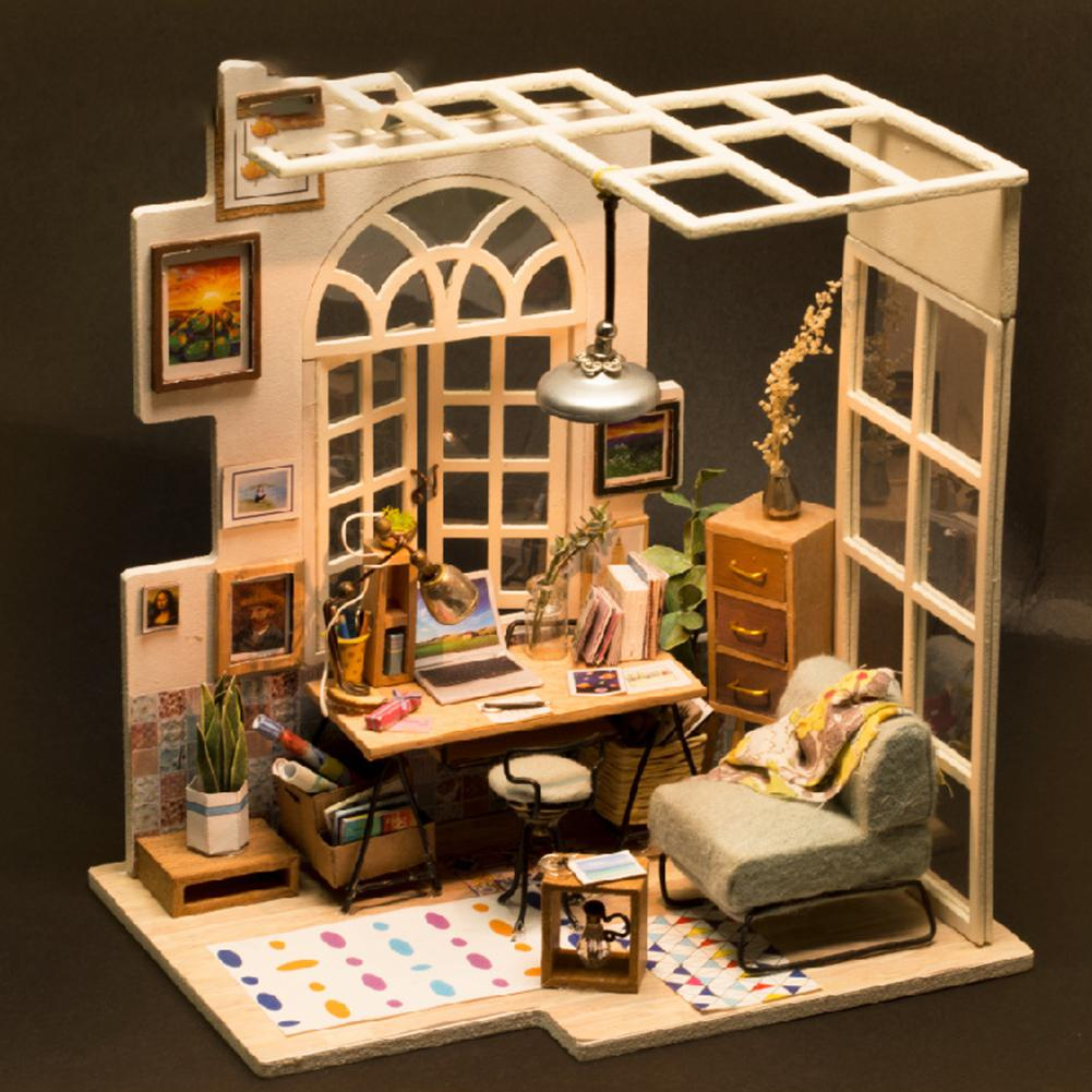 Kuulee Wooden Stereo DIY Mini House Creative Assembly House Model Toys As Gifts For Kids & Adults