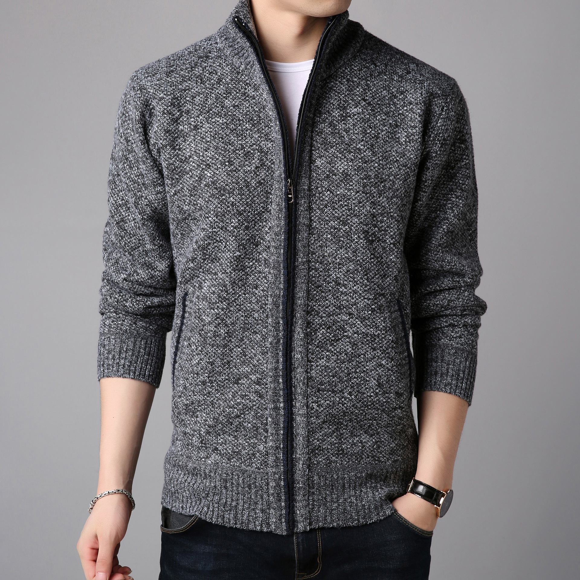Winter Fleece Men's Sweater Coat Side Pocket Long Sleeve Knitted Cardigan Full Zip Autumn Warm Male Fashionable Causal Clothing