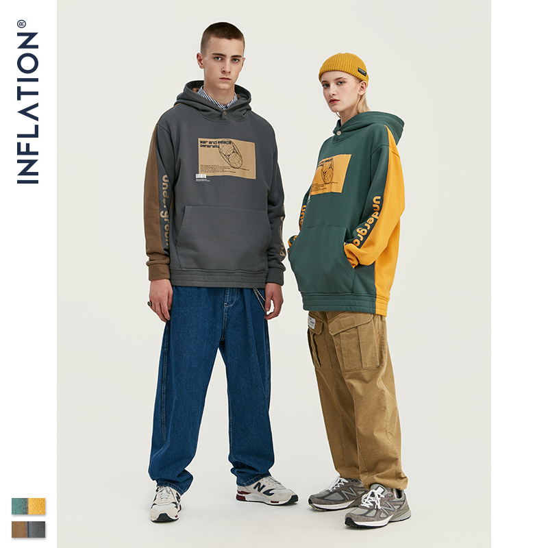 Image 3 - INFLATION 2019 Men Hoodies Dropped Shoulders Hoodie With Printed 