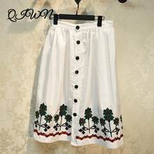 Runway Brand 2020 Summer Women New Korean Design Clothes Version Luxury Embroidery Skirt Fashion Loose Single-breasted Skirt(China)