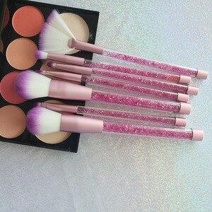 Image 5 - 7 Pcs איפור מברשות סט גליטר יהלומי קריסטל ידית איפור מברשות אבקת קרן גבות פנים איפור מברשת CosmeticTool