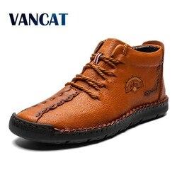 2019 nova quente botas masculinas trabalhando botas táticas de couro rachado botas de tornozelo de pelúcia botas de neve rendas sapatos de inverno mais tamanho 38-48