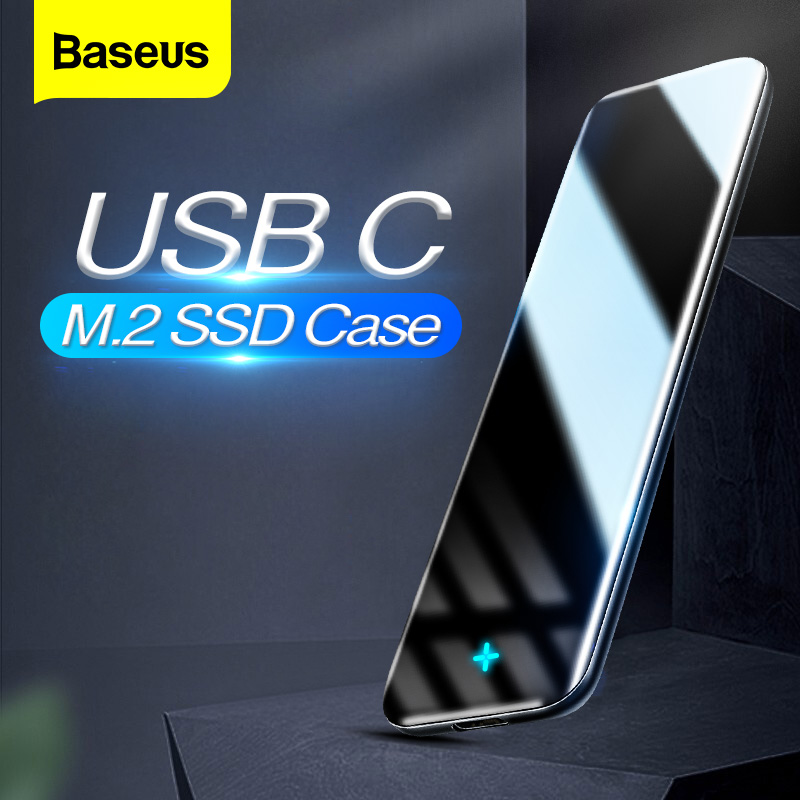 Baseus M2 SSD Case M.2 SATA To USB Solid State Drive Box Adapter Type C B/M+B Key SSD Disk External Enclosure Docking Station