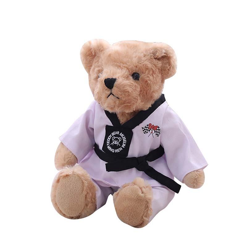Shopify Service 30 40cm Kawaii Taekwondo Teddy Bear Plush Toy Soft Stuffed Animal Bear Doll Creative Gift Toy Children Birthday