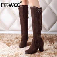 FITWEE Plus Size 32 48 Sexy Women Knee High Boots Winter Fur Warm Shoes Women Buckle High Heel Boots Ruffles Zipper Shoes