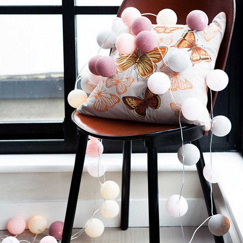 LED Garland Light String Cotton Balls Fairy Lights Novelty Lamp For Hanukkah Salon Patio Holiday Wedding Chirstmas Shopping Mall
