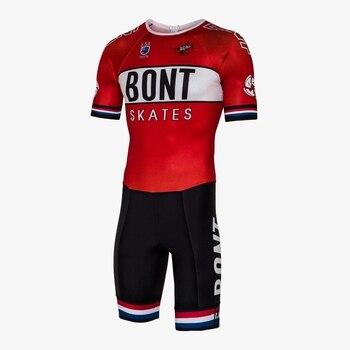 BONT mężczyźni prędkość liniowa łyżwiarstwo kombinezon wyścigowy skinsuit pro team szybka skate triathlon odzież Ropa ciclismo odzież rowerowa kombinezon