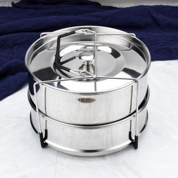 Behogar Stackable Stainless Steel Pressure Cooker Steamer Insert Pans with Sling for 5-6 Quart Instant Pot Accessories