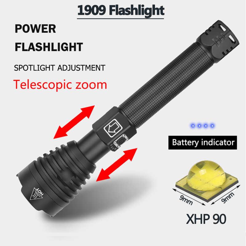 Linterna Z90 xhp90linterna led potente linterna de Flash táctica para Camping caza batería XHP70.2 26650/18650