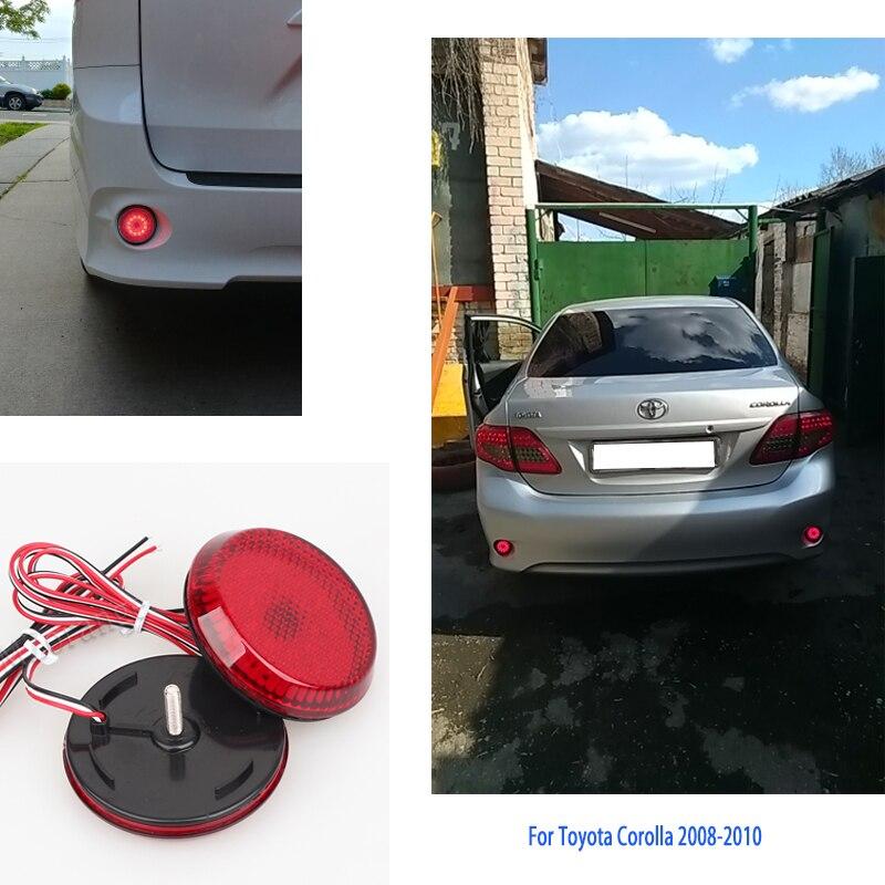2 Pcs Car LED Tail Rear Bumper Reflector lamp Round Brake Stop Light Warning light for Nissan/Qashqai/Trail/Toyota/Corolla flat panel display