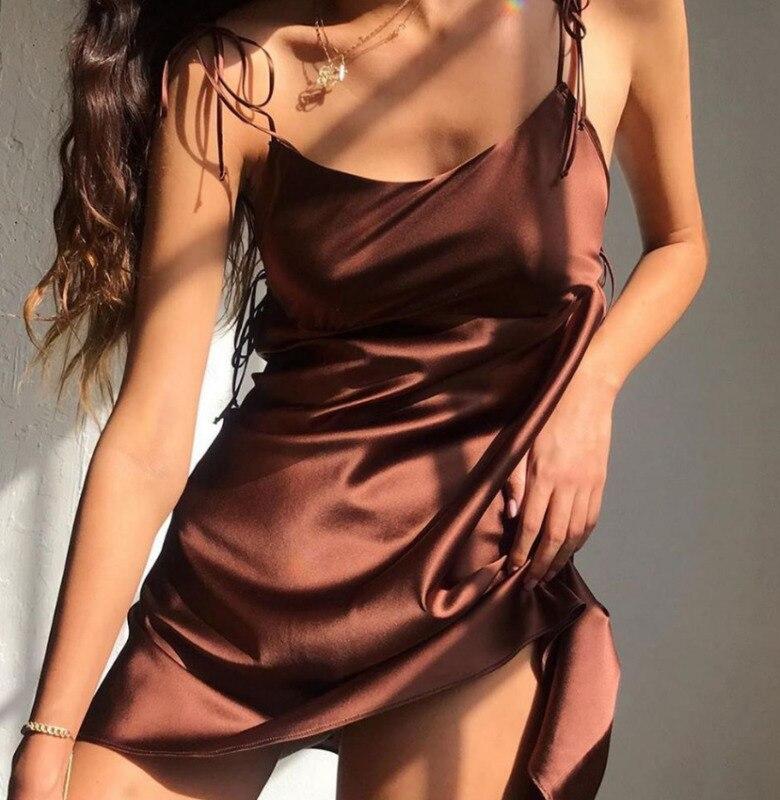 Sexy Satin Silk Dress Women Slip Dress Summer Beach Solid Short Mini Dress Sleeveless Sling Sundress Dresses