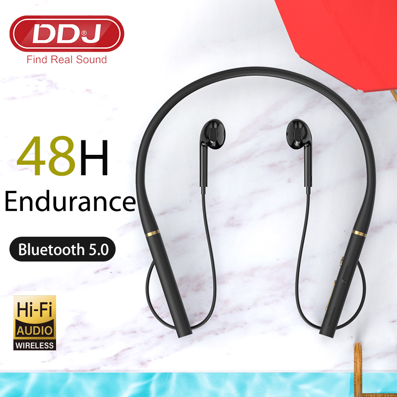 DDJ T50 Hanging Neck Headphones In-Ear Stereo Bluetooth Earphone With HD Mic Wireless Sport Headset Earbuds For Android IOS
