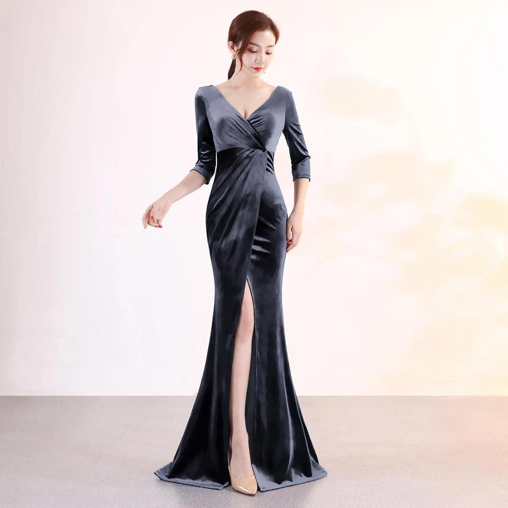 Beauty Robe De Soiree En Velours Col En V Style Sirene Robe Longue Fendue Sexy Manches Longues 2020 Aliexpress