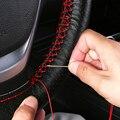 Оплетка на руль автомобиля, мягкая текстурная оплетка из искусственной кожи, с иглами и ниткой