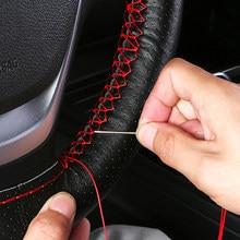 Volante do carro trança capa textura macia capas de carro com agulhas e linha couro artificial estilo do carro cobre