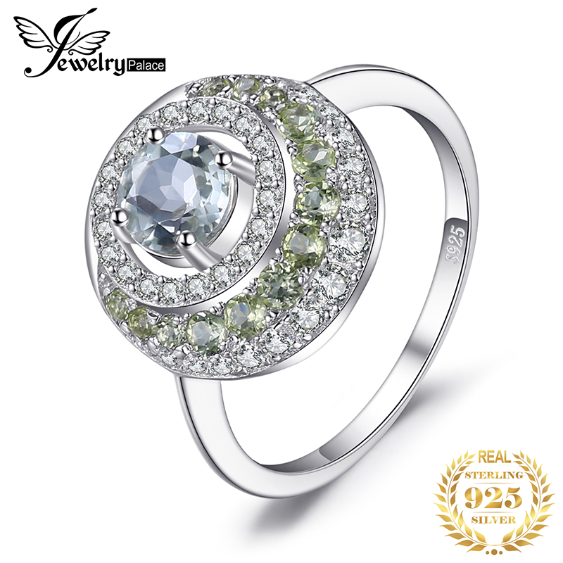 JewelryPalace Genuine 1.4ct Green Amethyst Peridot Halo Ring 925 Sterling Silver Vintage Charm Fine Jewelry Fashion For Women