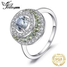 JewelryPalace, anillo de Halo de peridoto de amatista verde genuina de 1,4 quilates, colgante Vintage de Plata de Ley 925, joyería fina a la moda para mujer