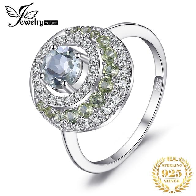 JewelryPalace oryginalna 1.4ct zielony ametyst Peridot efekt aureoli 925 srebro Vintage urok biżuterii moda dla kobiet
