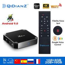 X96 mini android 9.0 smart tv box 2.4g wifi s905w quad core 4k 1080p hd media player 64 bit x96mini conjunto-caixa superior