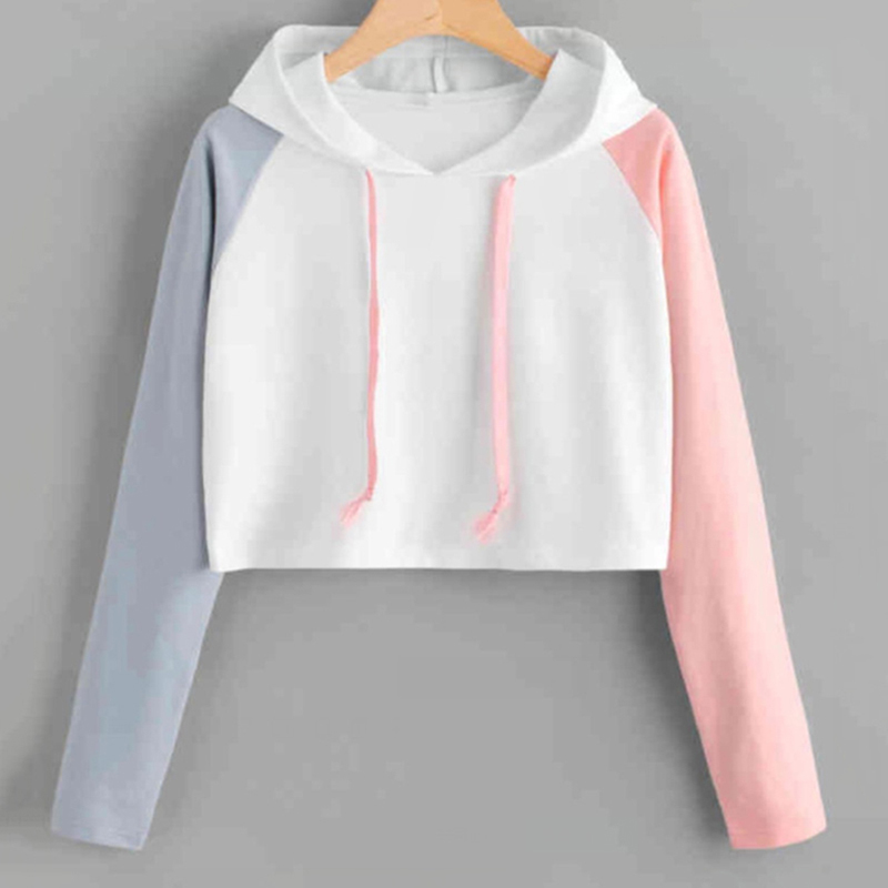 Sweatshirts Female Hoodie Patchwork Cropped Plus Size Sweatshirt Hoodies Women Long Sleeves Hoody For Women Harajuku Clothes