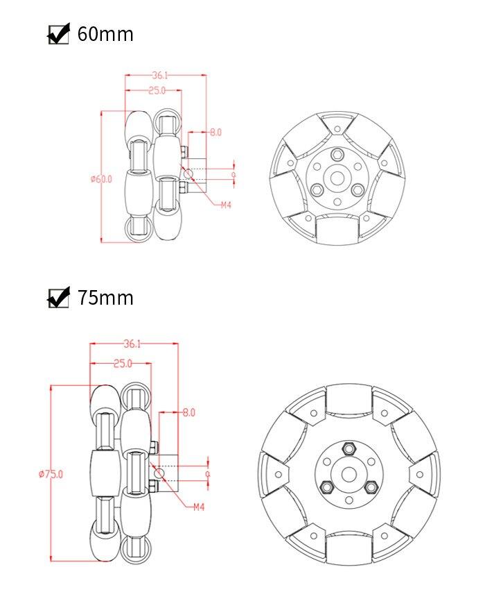 1pc omnidirecional roda 60mm omni-direcional roda 75mm