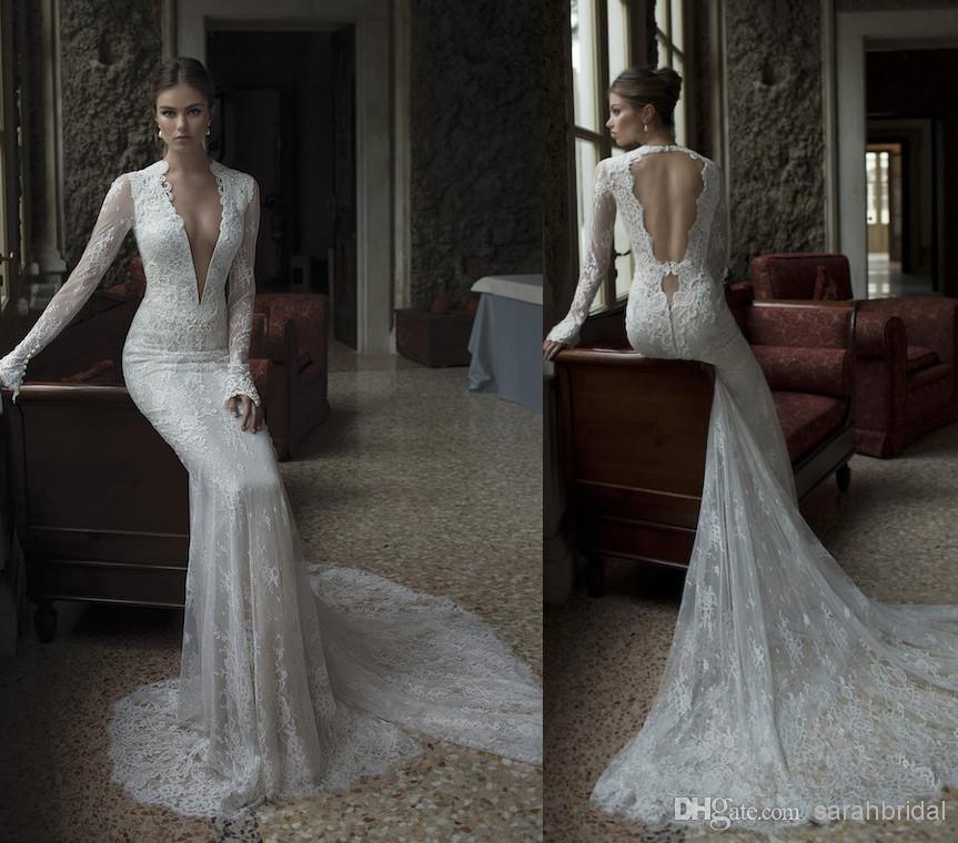 Bridal Gown Vestido De Noiva Deep V-neck 2020 Sexy Backless Fashionable Romantic Casamento Long Sleeve Lace Custom Wedding Dress