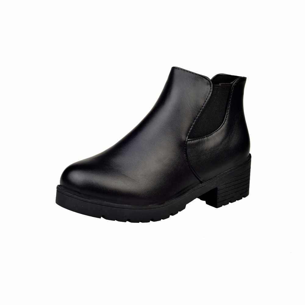 Winter Zwarte Laarzen Vrouwen Lederen Lage Platte Blok Hak Chelsea Enkellaarsjes Schoenen Womens Laarzen Zapatos De Mujer Ботинки Женские # C20