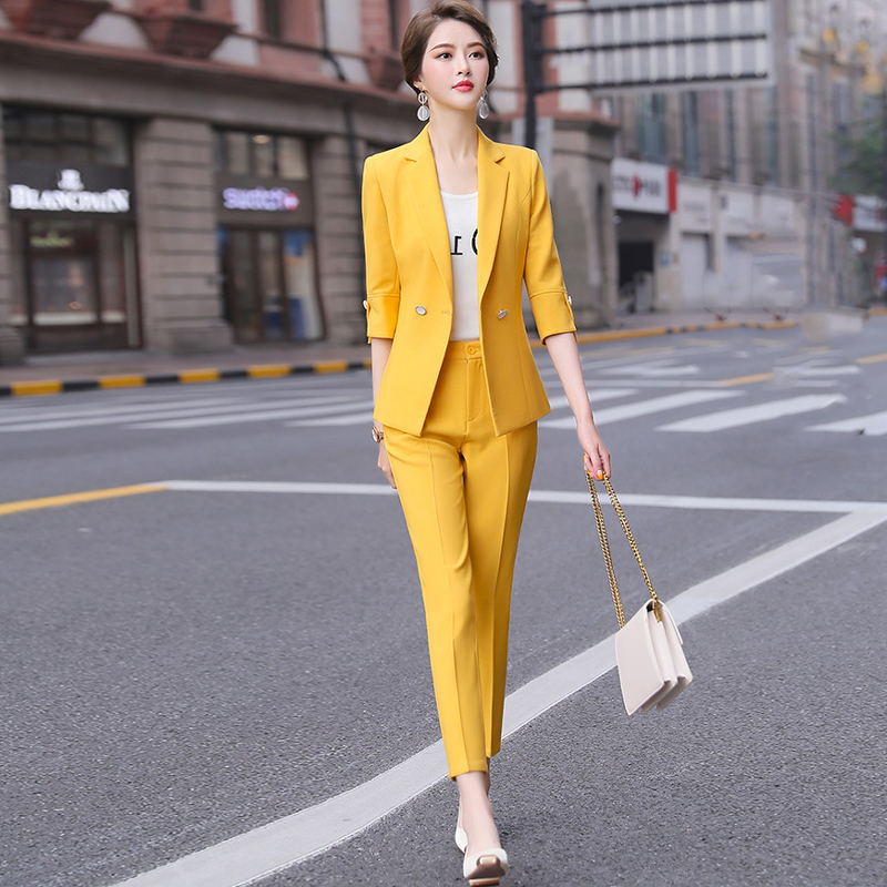 2020 New Korean Women's Pants Suits High Quality Spring And Summer Elegant Five-sleeve Ladies Blazer Jacket Casual Trousers