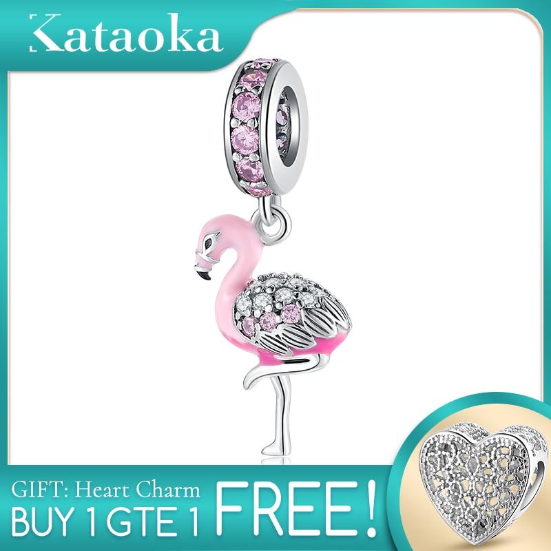 Authentic 925 Sterling Silver Pink Enamel Sparkling Flamingo CZ Fine Beads Fit Original Pandora Charms Bracelets Making