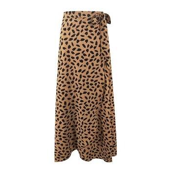 Women Print Skirts Summer Fashion Long Skirt High Waist Polka Dot Print Hip Skirt Bandage Split Sexy Long Skirt Female 2020 new woman skirts summer fashion polka dot big skirt short skirt leopard street hipster wave skirt