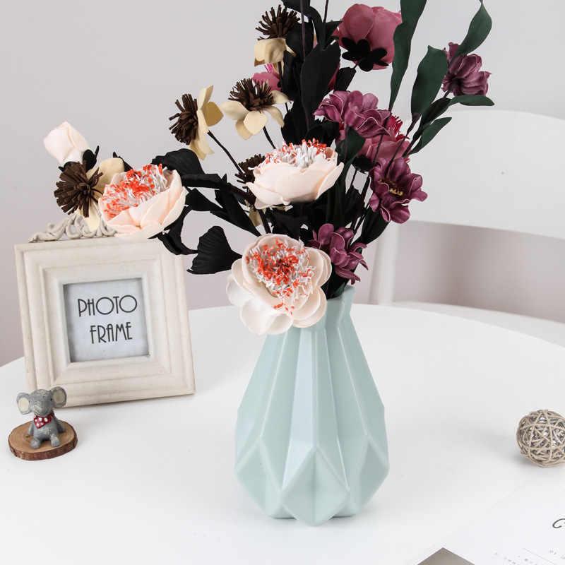 زهرة زهرية ديكور المنزل مزهرية بلاستيكية بيضاء تقليد أصيص ورد سيراميك سلة للزهور الشمال الديكور المزهريات للزهور