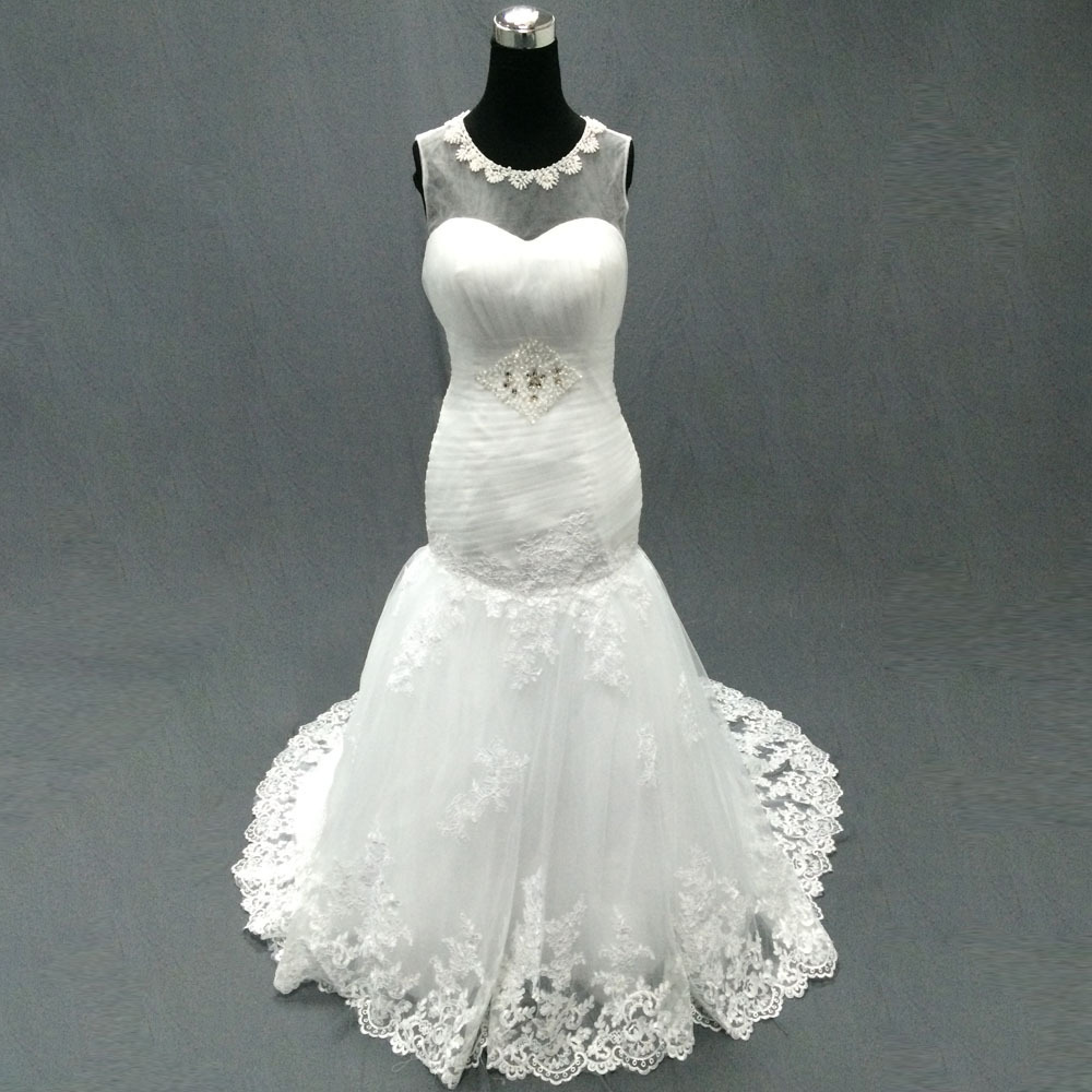 Blanc personnalisé Organza réel robes de mariée Images réelles sirène à lacets meilleure qualité robe de mariée à prix réduit