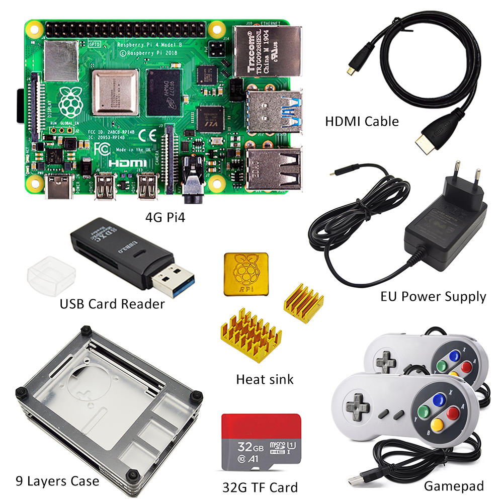 raspberry pi 4 4gb kit Raspberry Pi 4 Model B PI 4B : Board+Heat Sink+Power Adapter+Case +32GB SD+HDMI Cable+Gamepad