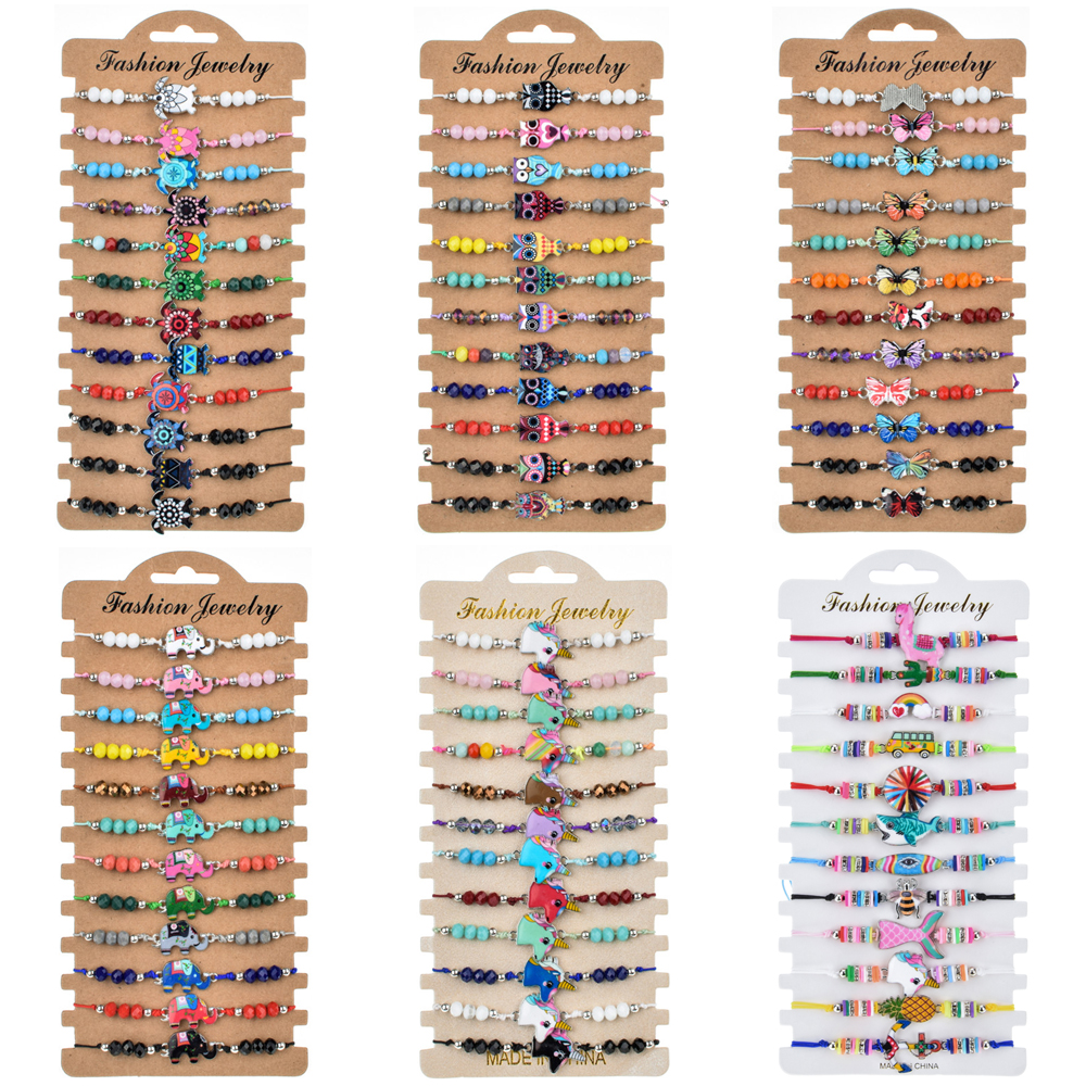 12pcs/set Colorful Turtle Animal Charms Braided Bracelet for Women Bohemian Crystal Bead Rope Chain Yoga Bracelet Anklet Jewelry