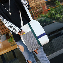 Women's bag hit color personality fashion casual shoulder bag student zipper messenger bag canvas bag blood kitchen knife style canvas zipper messenger bag white red