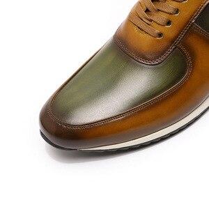 Image 5 - גדול גודל 15 Mens סגנון נעליים יומיומיות אמיתי עור יד צבוע אוקספורד חום ירוק שרוכים אופנה רחוב תמונות גברים של דירות