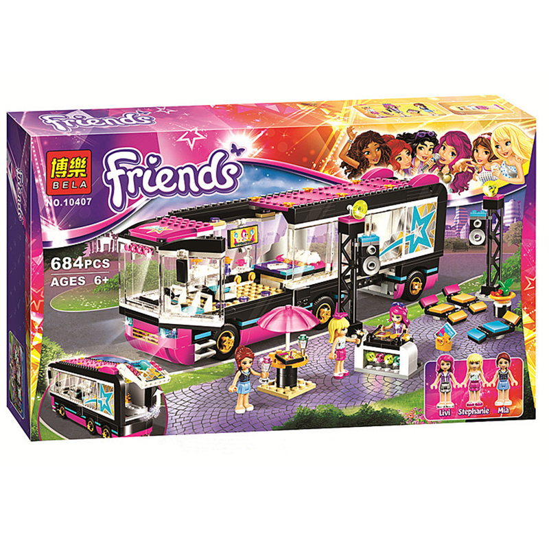 684Pcs Pop Star Tour Bus 10407 Friends Series Building Blocks Toys For Children Compatible With Legoinglys 41106