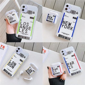 Air ticket Wireless bluetooth headset case for Airpods 1 2 New York Paris For iPhone 11 pro 7 8 6 6s Plus X XS Max XR Cover(China)